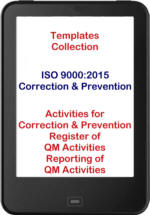 ISO 9001:2015 template collection correction and prevention